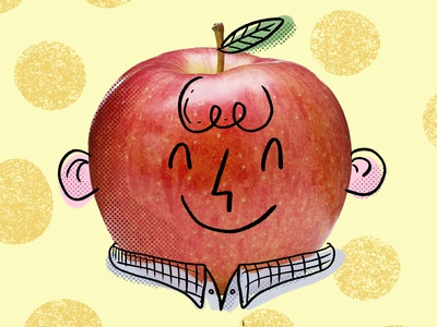 Mr. Apple character children happy face doodle illustration