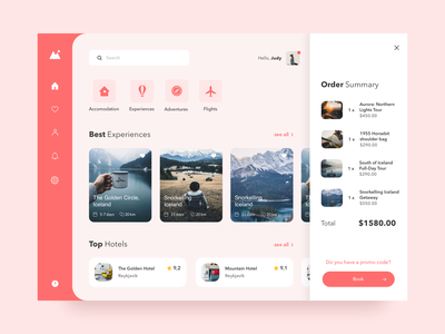 Travel Dashboard UI product page minimal website web hotel app table filters hotel pink cards travel design dashboard uiux ui