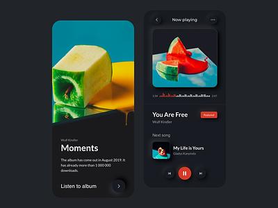 Music Player App UI - Dark Mode playlist concept minimal song music player music dark mode neumorphism neumorphic mobile app ux design ui