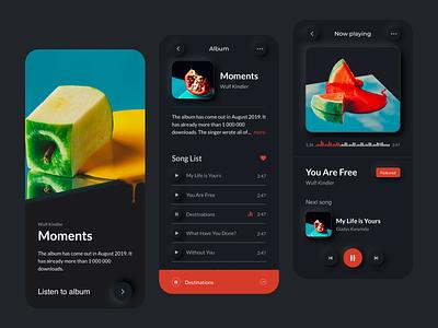 Music Player App UI - Dark Mode II concept landing website music app music player dark mode minimal mobile app ux design ui