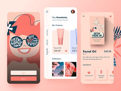 Beauty App Concept UI illustraion product design product page mobile minimal design make up uxdesign uidesign ui product skincare makeup beauty beautyapp app