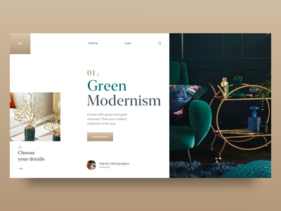 Interior Design Landing Page UI modern furniture website furniture interior design branding website concep interface product page architecture green gold uiux ux ui landing design interior