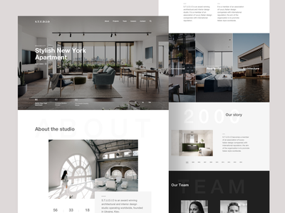 Interior & Architecture Website Template branding minimal cards home product page template landing website ux design ui architecture interior