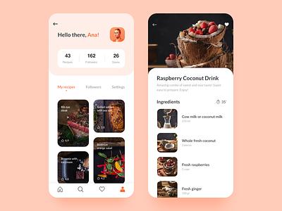 Food App UI (Part II) cards design profile mobile clean ux ui app food