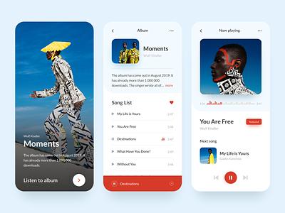 Music Player App mobile song playlist music art design colours app concept minimal ux ui music app player music