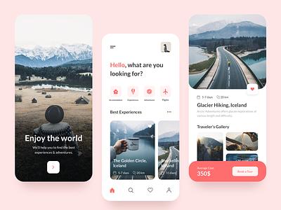 Travel App UI filters card traveling travel app colour interface travel mobile ux ui design app