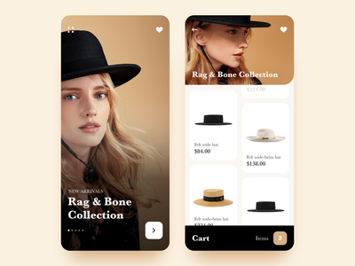 Fashion Mobile App UI concept collection onboarding cards list cart minimal mobile app design ux ui shopping product product page