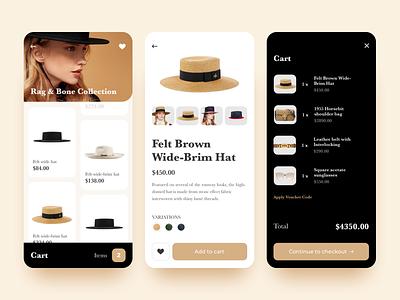 Fashion Mobile App UI (Part II) concept mobile fashion shopping design app minimal list cards product design cart checkout product page product ux ui