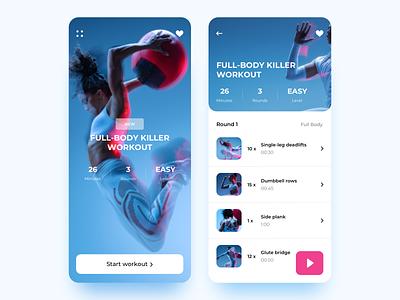 Fitness App UI Design minimal fitness app sport fitness concept product page mobile app design ux ui