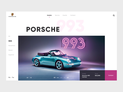 Porsche Website Landing car concept product page minimal web landing website design ux ui