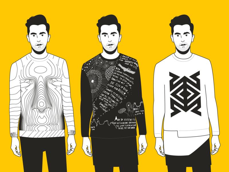 Dress David Rose dan levy sweater fashion portrait illustration digital vector illustration