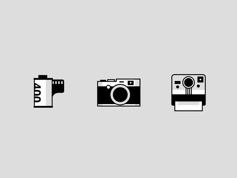 Single div CSS film + camera icons monocromatic kodak film polaroid camera icons illustration css