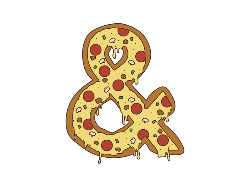 Pizza ampersand vector ampersand illustration pizza