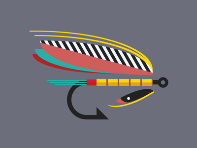 Single div CSS fly lure #divtober bait feathers lure fishing fly illustration code css
