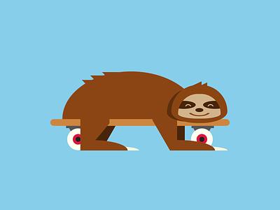 Single div CSS sloth #divtober skating skateboard slow sloth illustration code css