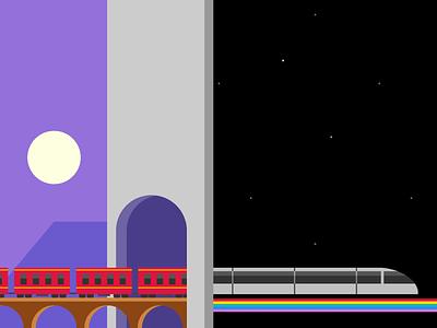 Single div CSS train #divtober bridge tunnel surreal surrealism space rainbow train illustration code css