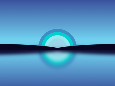 Single div CSS reflection #divtober illustration blue gradient sky lake reflection water sunset sunrise sun code css