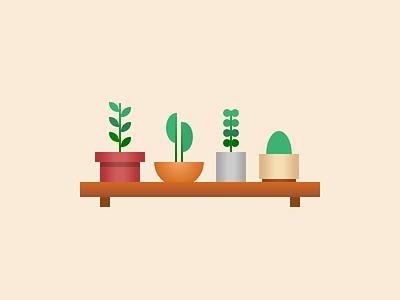 Single div CSS plant shelf #divtober planter pot cactus plants shelf illustration code css