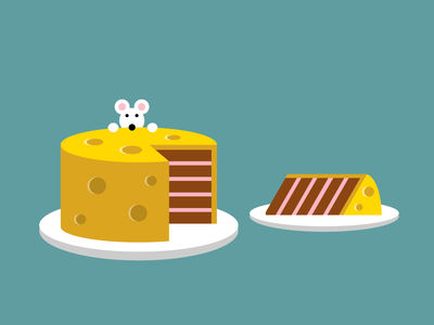 Single div CSS cheese cake #divtober slice food surrealism cake mouse cheesecake cheese illustration code css