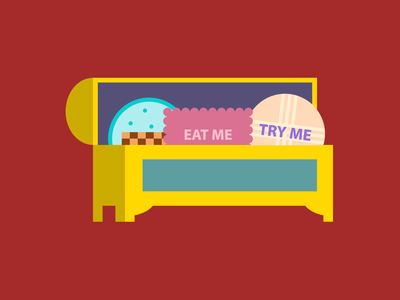 Single div CSS Wonderland treats #divtober biscuits food fancy box aliceinwonderland alice drink me eat me alice in wonderland cookies illustration code css