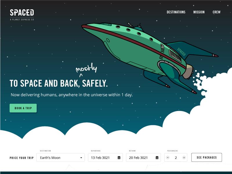 SPACED - a Planet Express company futurama web illustration