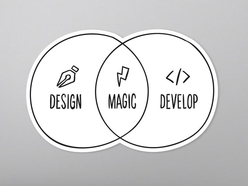 There's Magic in the Overlap sticker hybrid developer designer hand-drawn sketch venn diagram sticker