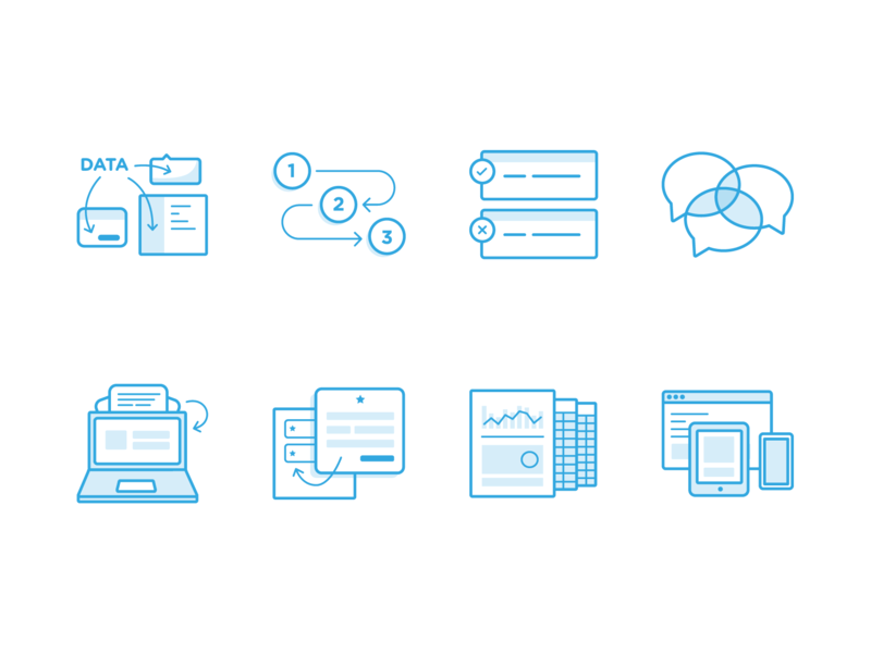 SaaS Icon Set spreadsheets devices integrations workflow chat business icons saas