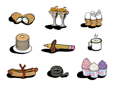 The Food Place illustrations jalapeño poppers icons clam chowder frozen yogurt churro dog eggs pancakes shrimp the good place food illustration