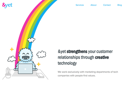 andyet.com Redesign rainbow yeti illustration animation scrolling css homepage agency web