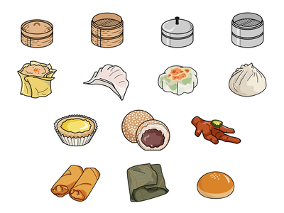 Dim Sum icon set chicken feet chinese illustration dumplings food dim sum icons