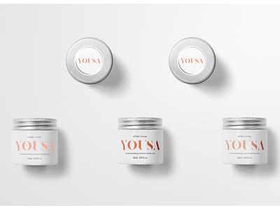 Yousa Branding 1.1 yousa cosmetic packaging cosmetology brand cosmetic typography branding logo design