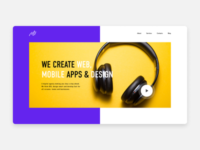 Home screen concept flat ux ui homepage design