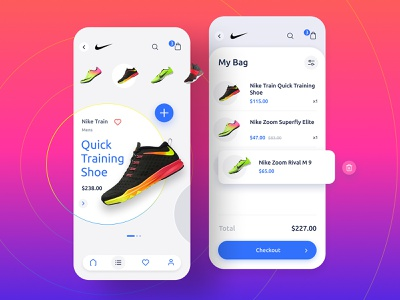 Sportwear Store Application vibrant uxui ux ui store sportwear sport sneakers shoes puma product page nike figma ecommerce checkout bright application app adidas