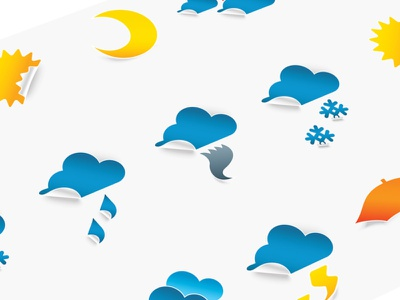 Weather Stickers Design for Weather App lightning snowflakes clouds sunbzy moon icons design icons stickers