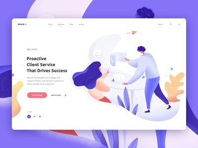 Brand X / Brand Agency Landing Page marketing illustration web design website business branding colorful consultation brand agency digital agency brainstorming development process airplane woman man leaves minimal clean