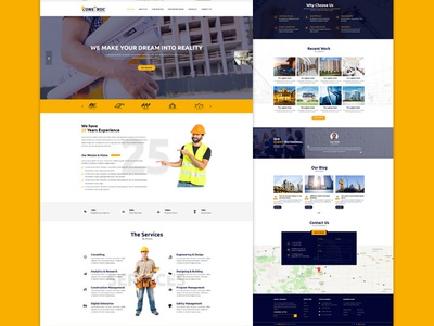 Construction Business HTML Template Bootstrap 4 and Responsive