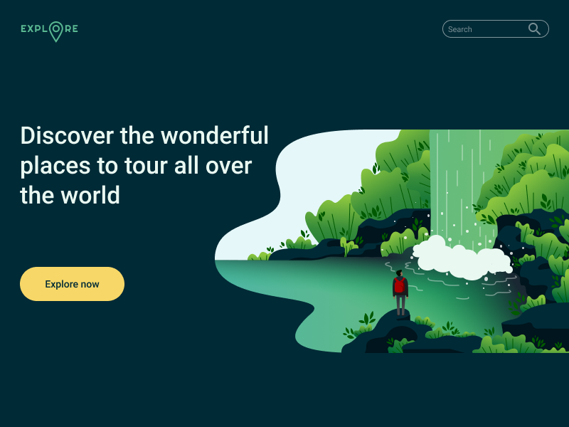 Daily UI #003 - Landing Page logo nature green explore travel design landing page website ui daily ui 003 visual design user interface daily ui dailyui behance illustration india