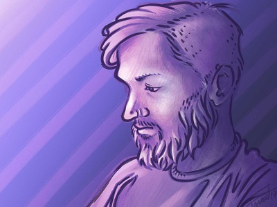 Lonely Memory drawing purple blue portrait photoshop sketch illustration