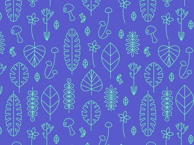 Leafy Pattern repeating leaves plants vector pattern