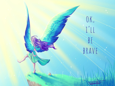 Be Brave digitalpainting drawing purple blue wings photoshop sketch illustration