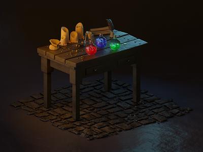 Wizard's Workshop motion 3d c4dart nft medieval mage sorcery candles workshop potion wizard isometric 3d design 3d art cgrender cgart cg c4d octane render cinema 4d