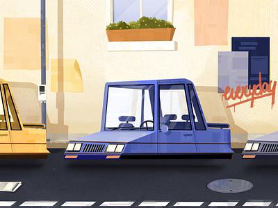 Floating cars vehicle wall road visual visdev street float car blue procreate ipad illustrator design illustration