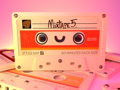 Let's dance! 🎶 record pictoplasma modeling cinema4d orange pink mixtape face cute vintage retro cassette k7 character c4d 3d design illustration
