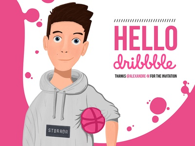 Hello dribbble design character shot first illustration