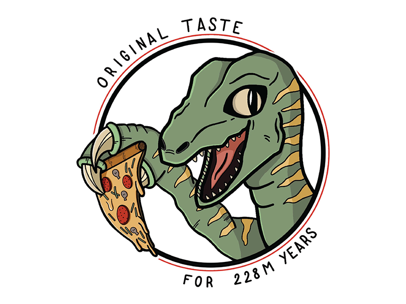 Pizza Raptor green cordat seb procreate ipad illustration pizza raptor dino