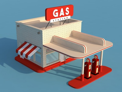 Gas station blue red flat station gas render 3d c4d