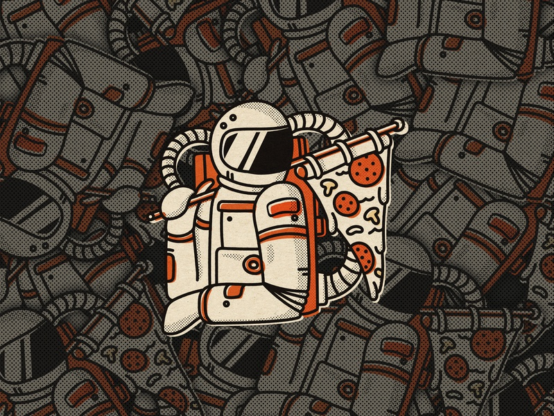 Pizzastronaut fun illustrator sticker orange vintage design graphic astronaut pizza