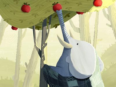 Artmash elephant / orchard / blanket light orchard artmash apple ipad animal forest illustration elephant procreate
