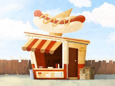 Hot Dogs for everyone ! house beach graphic summer ipad design landscape foodtruck illustration procreate hotdog