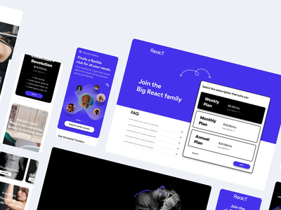 React - Fitness Club - UI/UX design interaction site concept web app ui ux branding animation